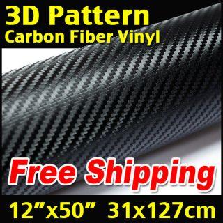 60 32 cm x 152 cm BLACK Wrap Sheet 3D Twill Weave CARBON FIBER VINYL