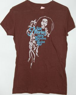 Bob Marley Rastaman 1976 Ladies Girls Junior brown T Shirt tee New