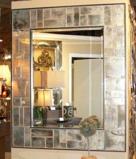 Large 58 Antiqued Venetian Wall Mirror Tiled Paneled XL Silver Vanity