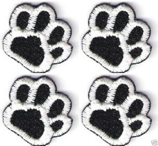 Lot of 4 Black White Dog Animal Paw Print Embroidery Applique Patch