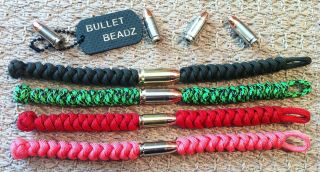 45 Auto & 9mm Bullet Beadz 550 Paracord Bracelet made from Winchester
