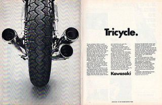 1969 Kawasaki TRICYCLE 16 1/2  X10 3/4 Vintage Original 2  PAGE
