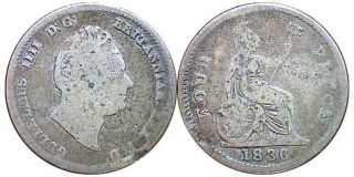 GREAT BRITAIN KING WILLIAM IV STERLING SILVER FOURPENCE 1836 #2