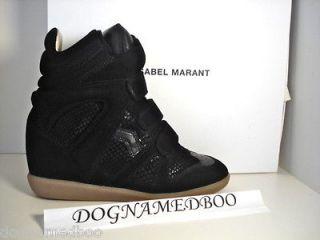 ISABEL MARANT bekket BAZIL black snakeskin suede wedge sneaker shoe 38