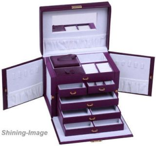 BEAUTIFUL LARGE PURPLE LEATHER JEWELRY BOX CASE STORAGE LOCKED WITH