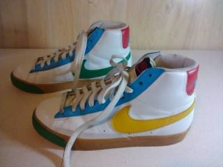 Nike SZ 7.5 High Tops White Leather Multi Color Trim Womens