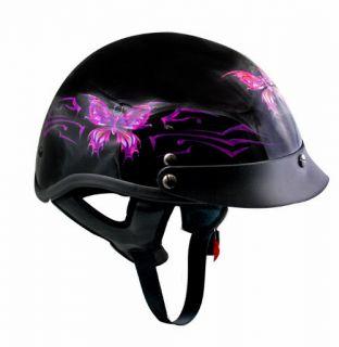 Ladies Black Purple Butterfly Open Face Half Motorcycle Helmet (XS XL