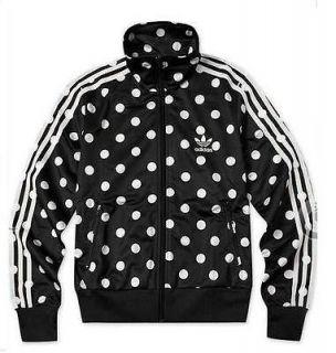 adidas women firebird black white track top jacket m s