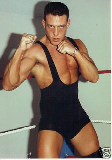 BG PRO WRESTLING star MAX DARE Male Muscle Hunk Beefcake Pose Gear in