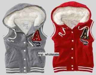 NWT Aeropostale Aero Womens Varsity Hooded Hoodie Vest Gray Red XS S