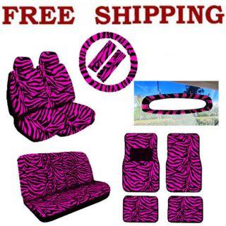 Pink Zebra Seat Steering Wheel & Rear View Mirror Covers Floor Mats