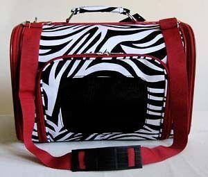 16 Pet Luggage/Carrier Dog/Cat Travel Bag Purse Zebra Red