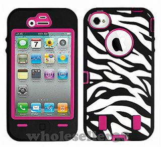 Hot Pink Rugged Rubber Zebra Hard Case Cover For iPhone 4G 4S + Screen