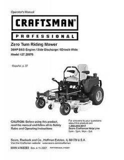 Craftsman Operators Manual Zero Turn Rear Riding Mower Model 127.28875