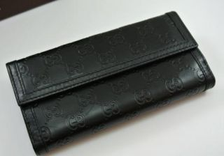 New Gucci Black Monogram Leather Continental Wallet Style 181648 $450