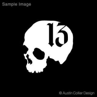 Skull w Number 13 Vinyl Decal Car Truck Sticker Evil