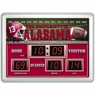 Alabama Crimson Tide 13X Champions Scoreboard Digital Wall Clock w