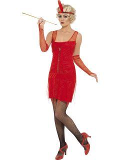 20s Red Flapper Costume Dress Adult Medium *New*