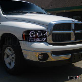 Glossy Black 2002 2005 Dodge RAM Halo Projector Headlights H1 6000K