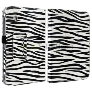 White Black Zebra Stand Leather Case Cover Pouch for Samsung Galaxy