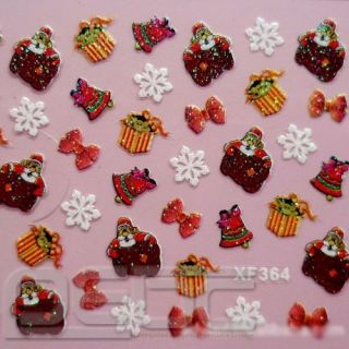 Christmas Xmas Wrap 3D Nail 26 Designs Art Stickers Foil Tips Decal