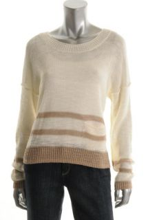 360 Sweater New White Flax Stripe Long Sleeve Crop Linen Pullover