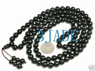 42 Tibetan 108 Natural Black Jade Serpentine Prayer Beads Mala