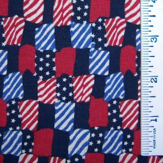 Half Yard July 4th Independence Day Patriotic Modern Red White Blue