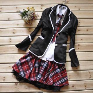 Japanese School Girl Uniform Cosplay Costume Black Red Tartan Dress