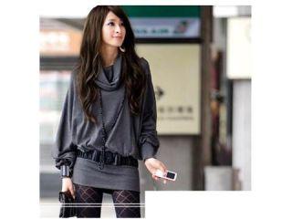 fashion office woman casual outwear midi long sweater floppy loose