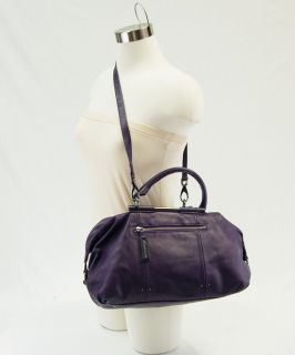 Kenneth Cole Purple Leather Satchel Shoulder Bag Pre Owned