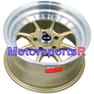 16 16x8 XXR 002 Gold Rims Wheels Stance 06 07 08 09 10 11 Mazda Miata