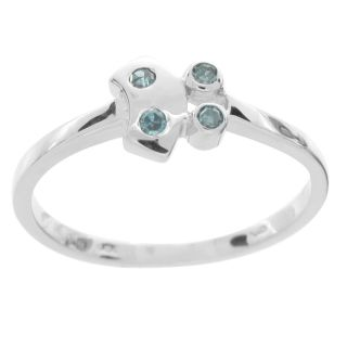 Womens Blue Natural Diamond Fashion Ring 7 Platinum Over Sterling $50