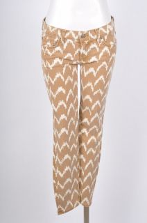 For All Mankind NWT $194 Brown/Cream Patterned Cropped Skinny Jeans