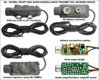 NEW 88 108 MHz FM spy bug audio Surveillance transmitter, listening