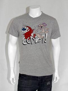 CHUNK Ren & Stimpy 90s Classic Eediot Print T Shirt   Grey   S M L XL