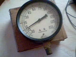 Marsh Compound Pressure Vacuum Gauge in Original Box Large Vintage