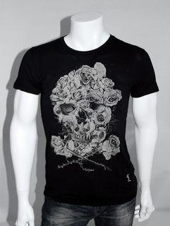 RELIGION Floral Skull Roses Print T Shirt   Black