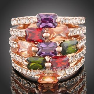 18K Rose Gold GP Swarovski Crystal Amethyst Ruby Citrine Emerald Ring