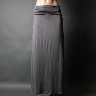 Line Plain Solid Charcoal Gray Jersey Boho Hippie Long Maxi Skirt