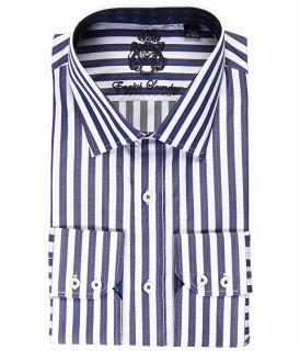 English Laundry Black Stripe Dress Shirt w/ Paisley Jacquard Trim $98