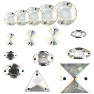 Swarovski Rhinestone AB Crystal Gem Sew on Shapes
