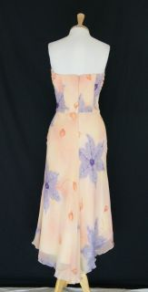 New ABS Allen Schwartz Peach Silk Chiffon Floral Cocktail Dress Size 8