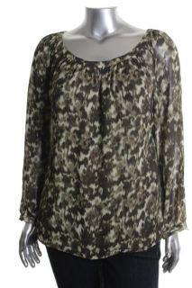 Michael Kors New Green Printed Scoop Neck Long Sleeve Blouse Top Plus