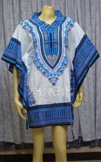 Cotton Boho Hippy Dashiki Shirt Top Mini Dress