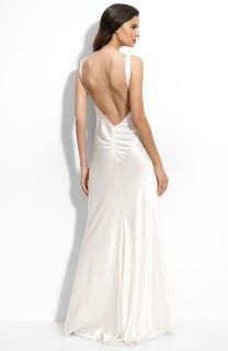 New ABS Allen Schwartz Low Back Satin Bridal Dress Gown Size 14
