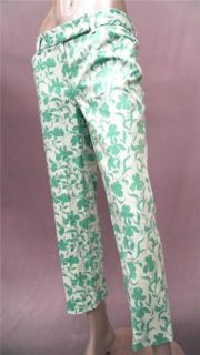 Ann Taylor Misses 4 Capri Pants Green Multi Color Floral Slacks