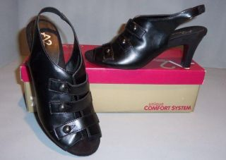 A2 by Aerosoles Womens Black Amore Peep Toe Heels Shoes Sandals New