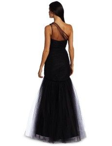ABS Allen Schwartz Beaded One Shoulder Dropwaist Tulle Mermaid Gown
