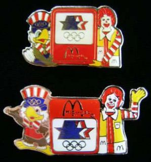 LOS ANGELES OLYMPICS   2 McDONALDS PINS   RONALD McDONALD & SAM EAGLE